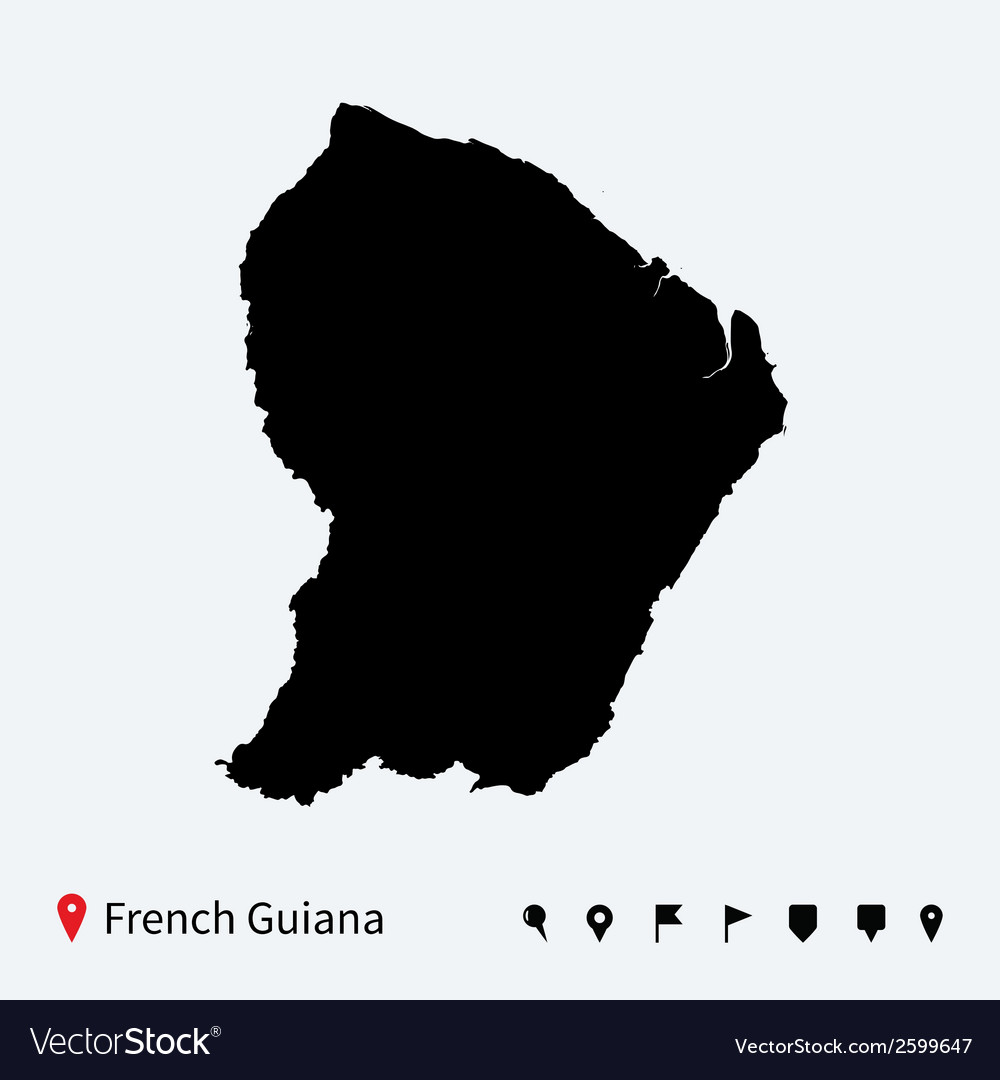 High detailed map of French Guiana with navigation