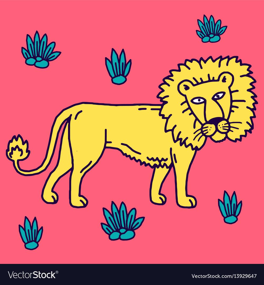 Lion cartoon set collection vector image