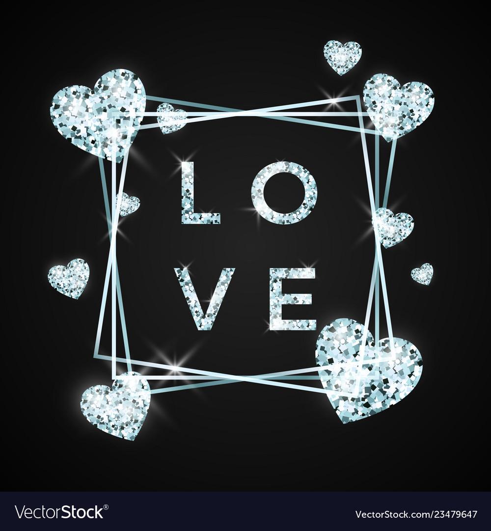 Love design in brilliant stone diamond heart and