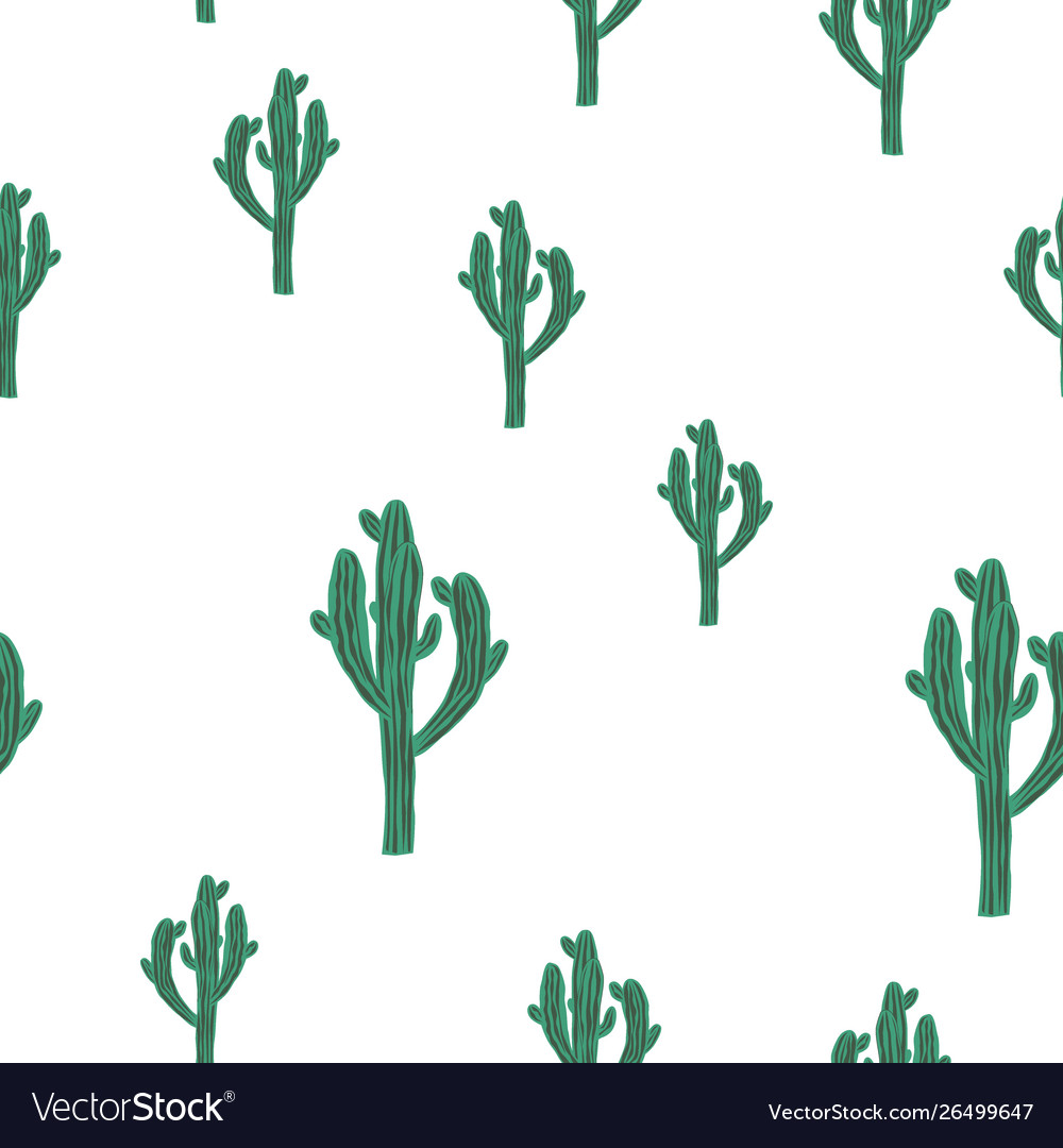 Seamless cactus pattern with green saguaro