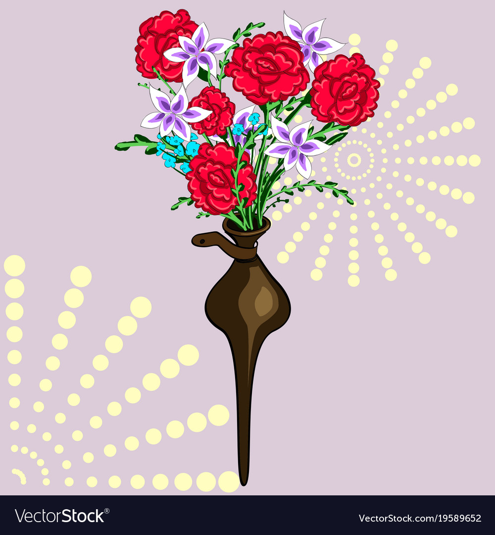 A Decorative Vase In The Wall Bouquet Of Flowers Vector Image