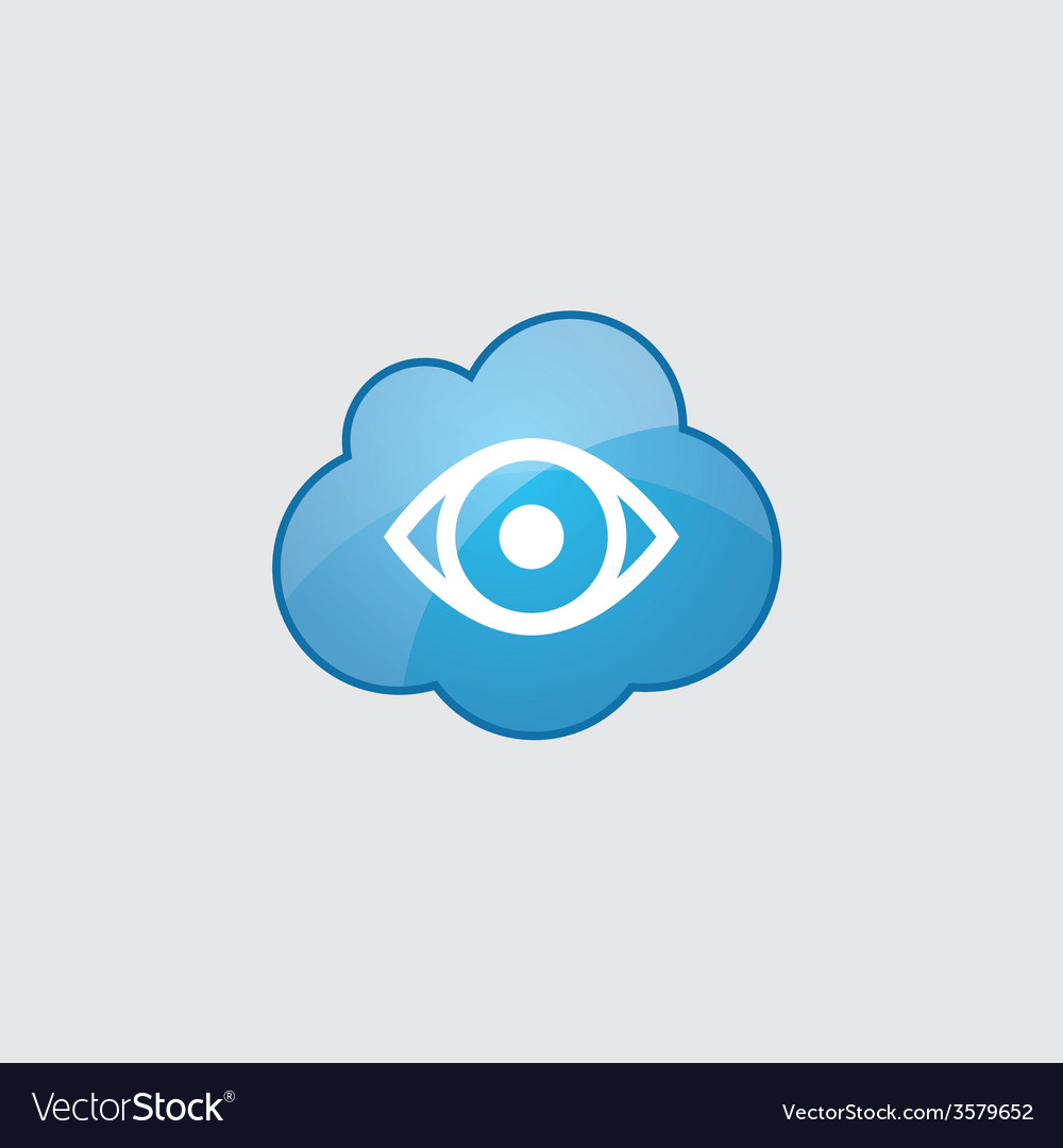 Blue cloud eye icon vector image