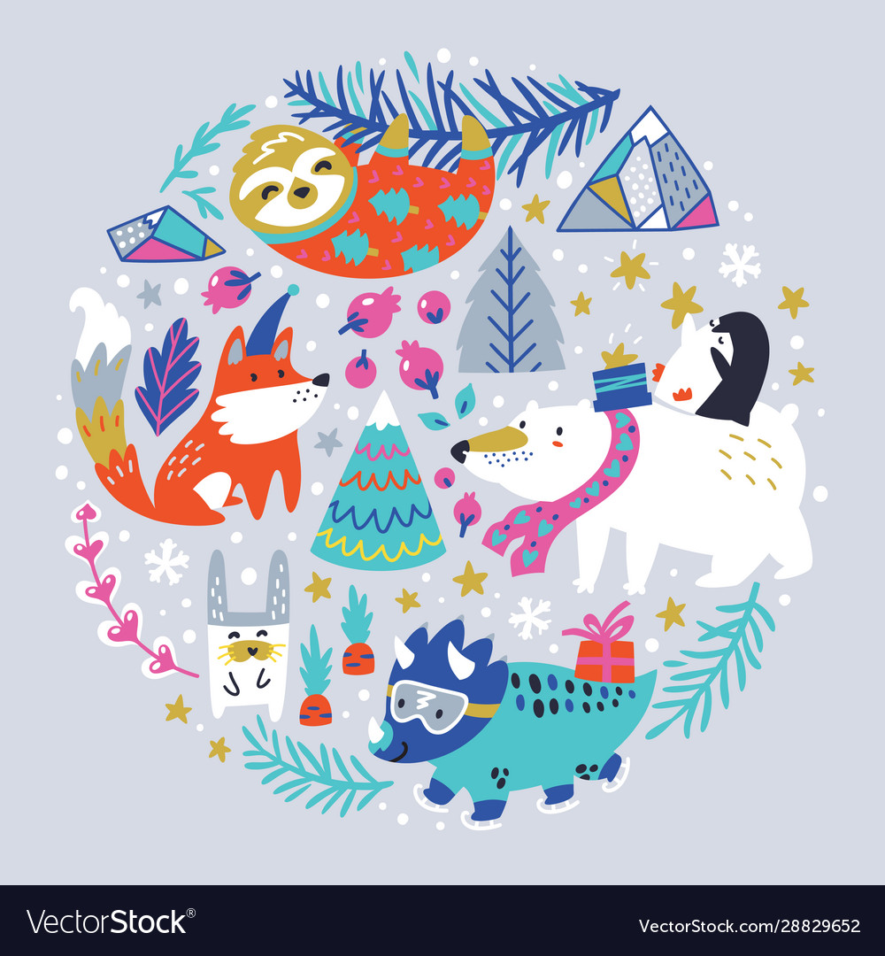 Childish with winter animals vector