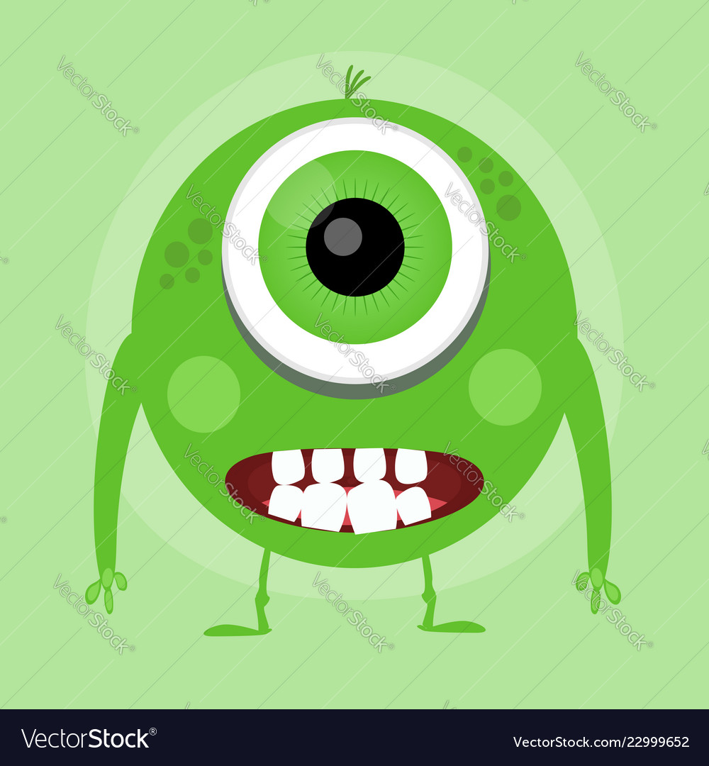 Cute little cartoon monster green smiling little