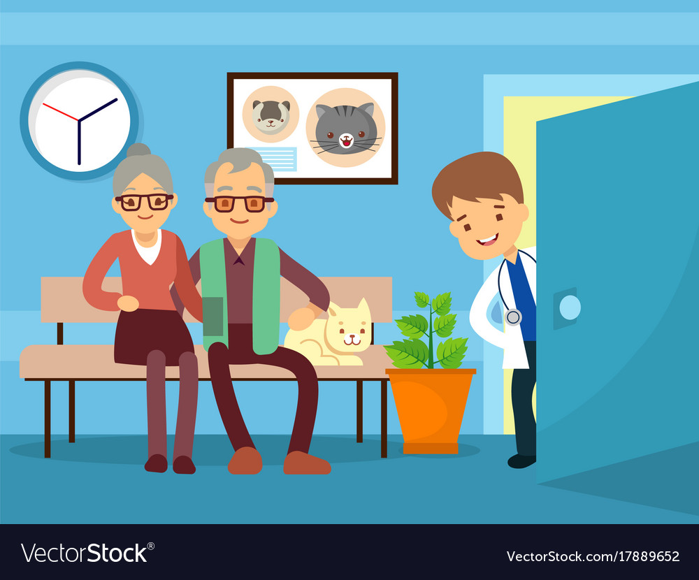 Elderly couple and cat at veterinarian