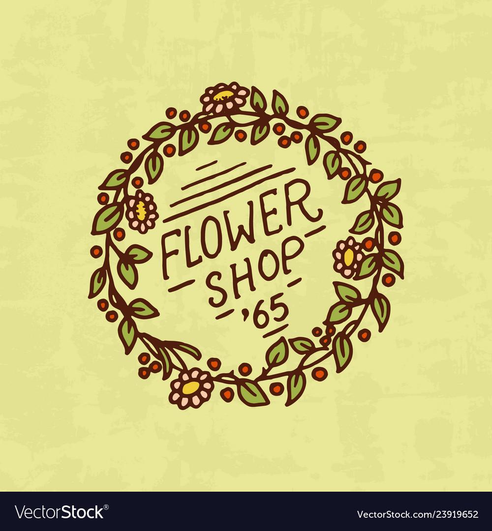 Flower shop emblem or bright logo vintage bouquet