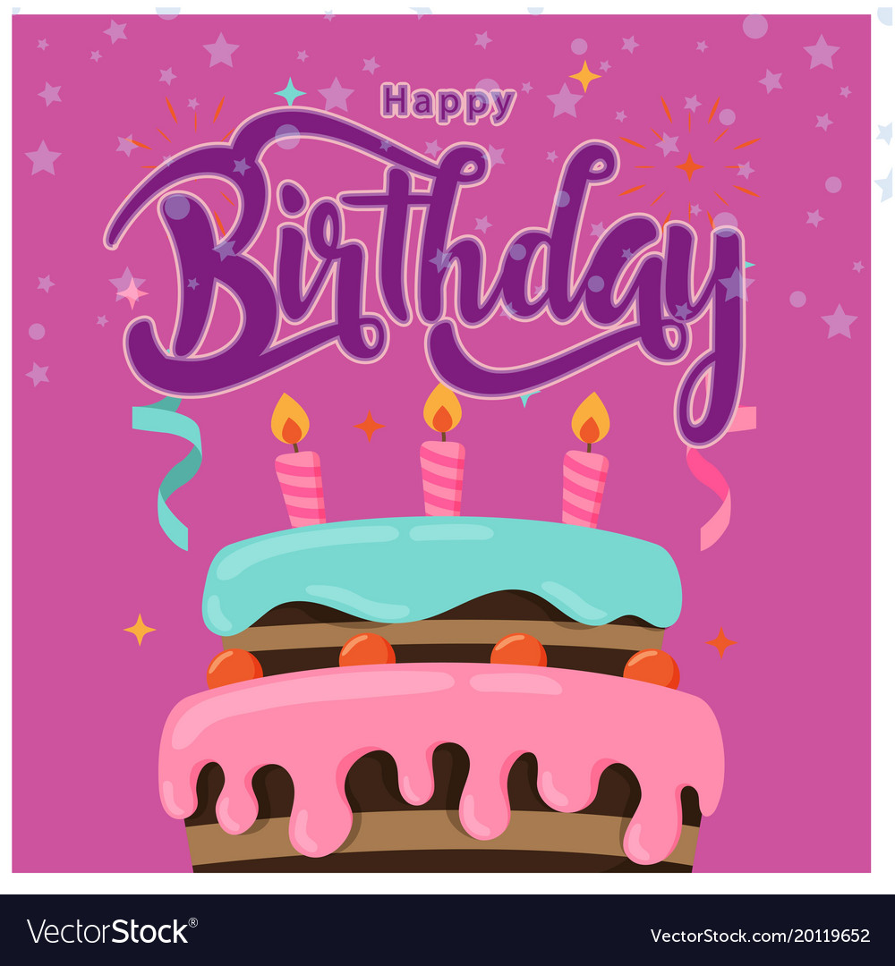 Happy Birthday Cake Purple Background Image Vector Image