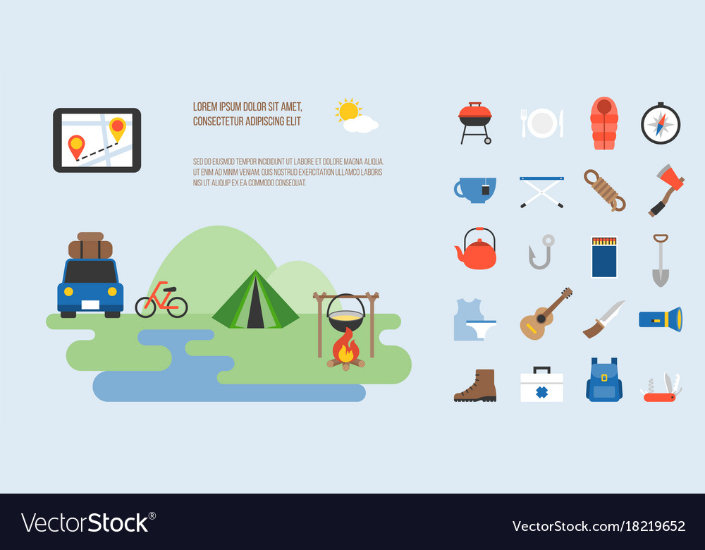 Info graphic of camping vector image