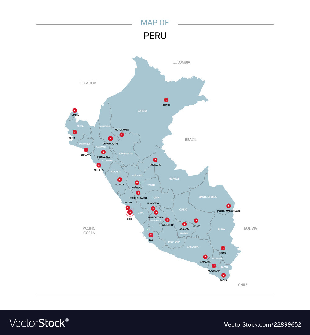 Huancayo Peru Map.Peru Map With Red Pin Royalty Free Vector Image