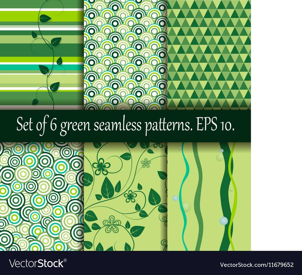 Set of six green seamless patterns