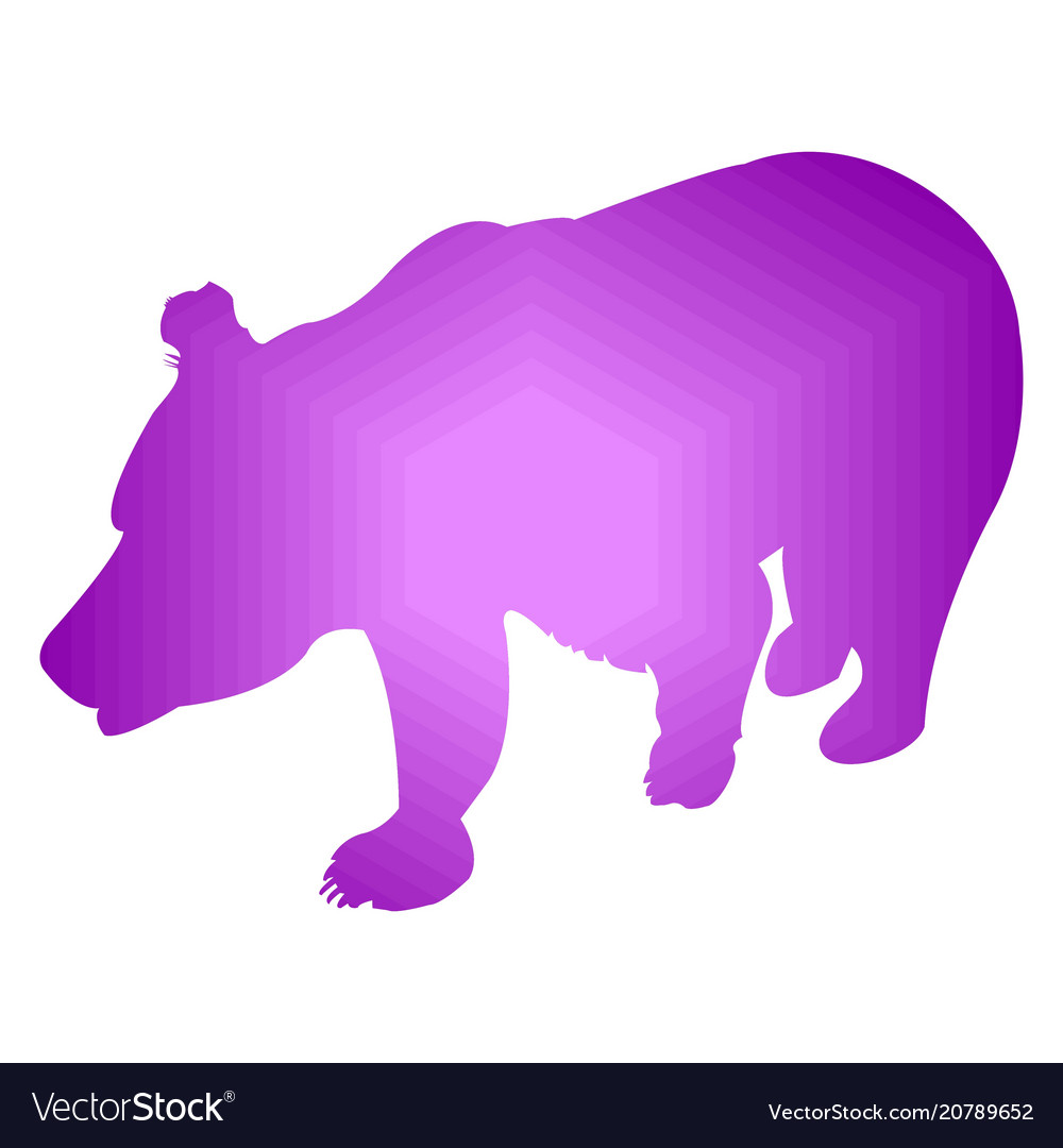 Silhouette of brown bear abstraction of violet
