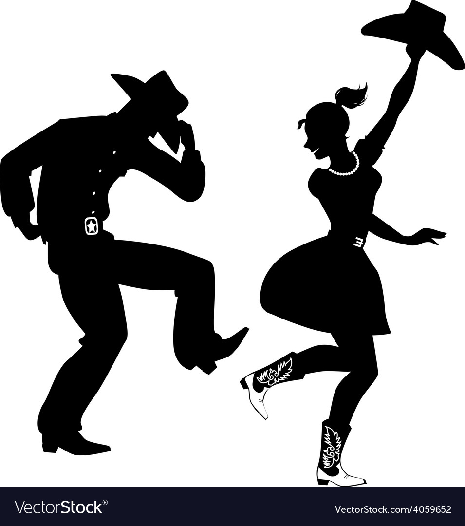 silhouette of countrywestern dancers royalty free vector