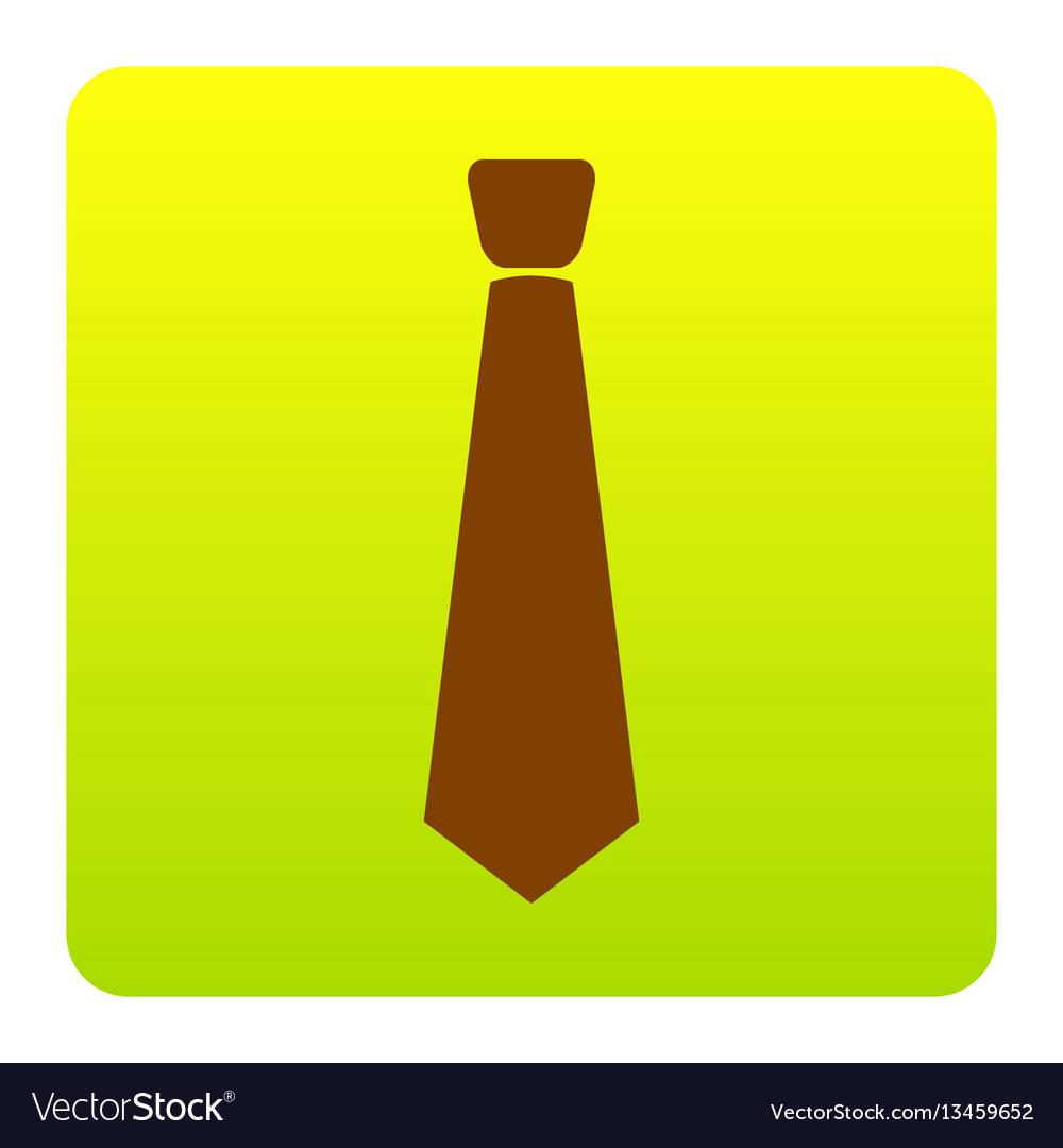 Tie sign brown icon at green