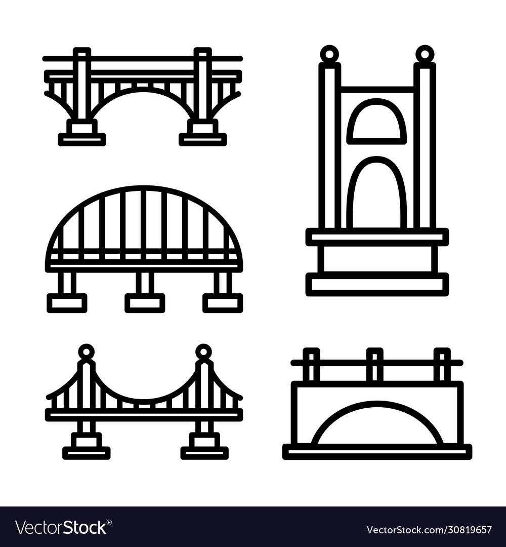 Bridge outline icon set
