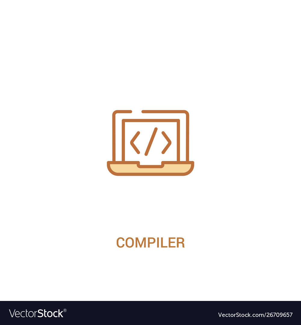 Compiler concept 2 colored icon simple line