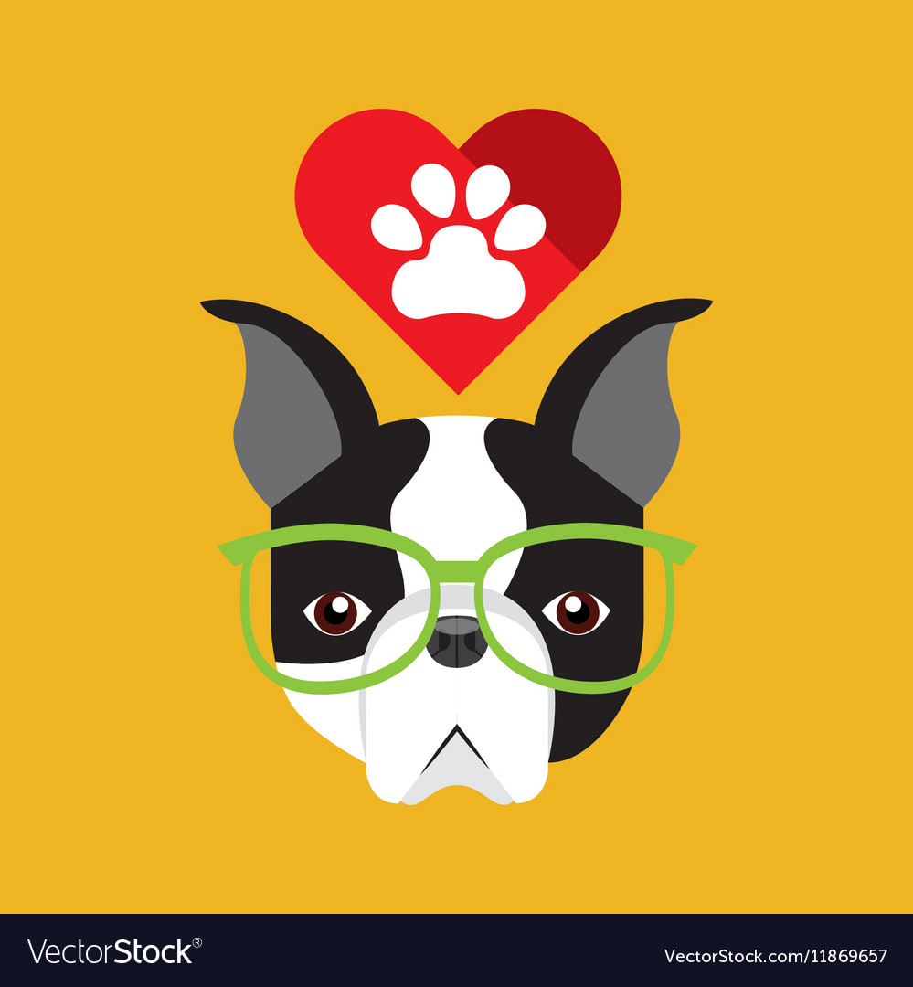 Cute dog pet with paw heart background