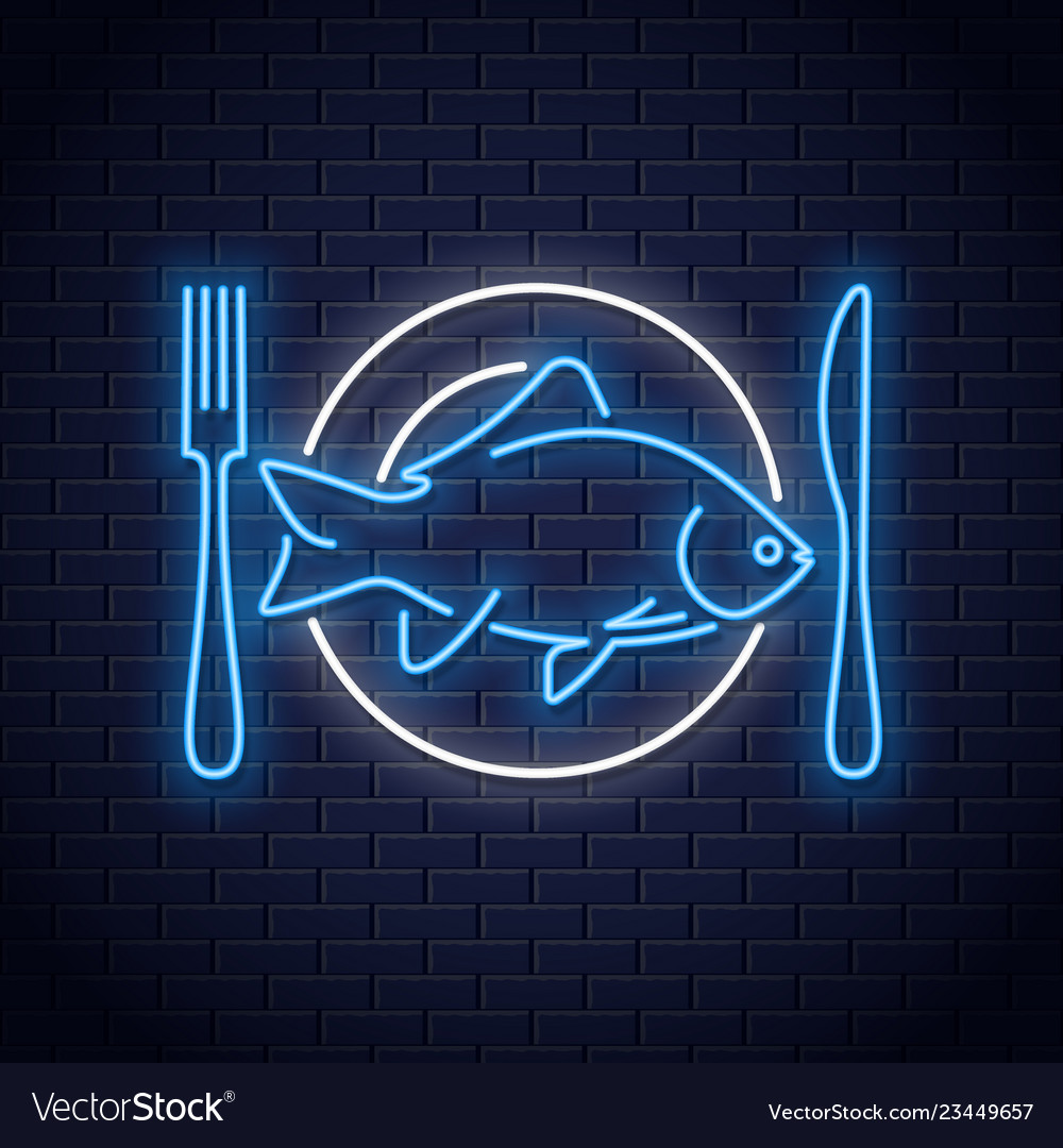 Fish on plate neon sign plate with fork and knife