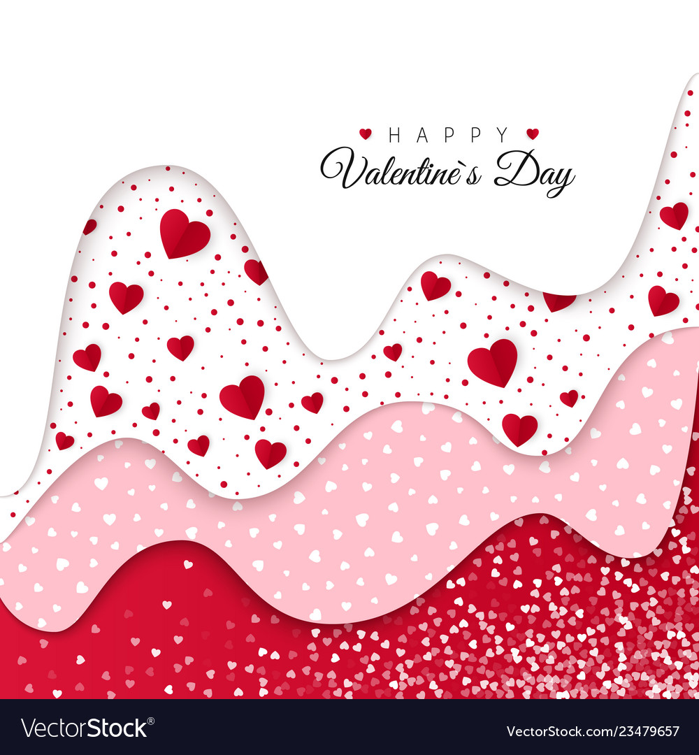 Happy valentines day greeting card red wavy
