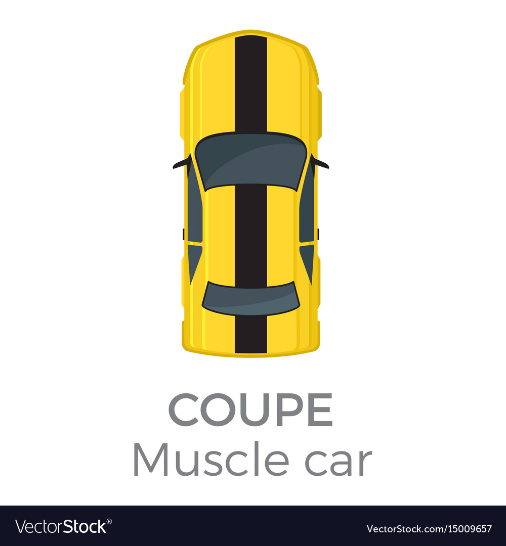 Muscle car coupe top view flat icon