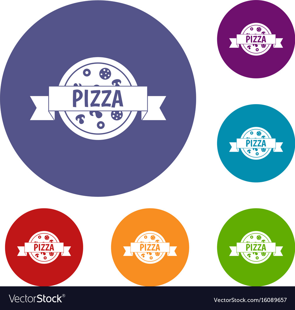 Pizza label with ribbon icons set