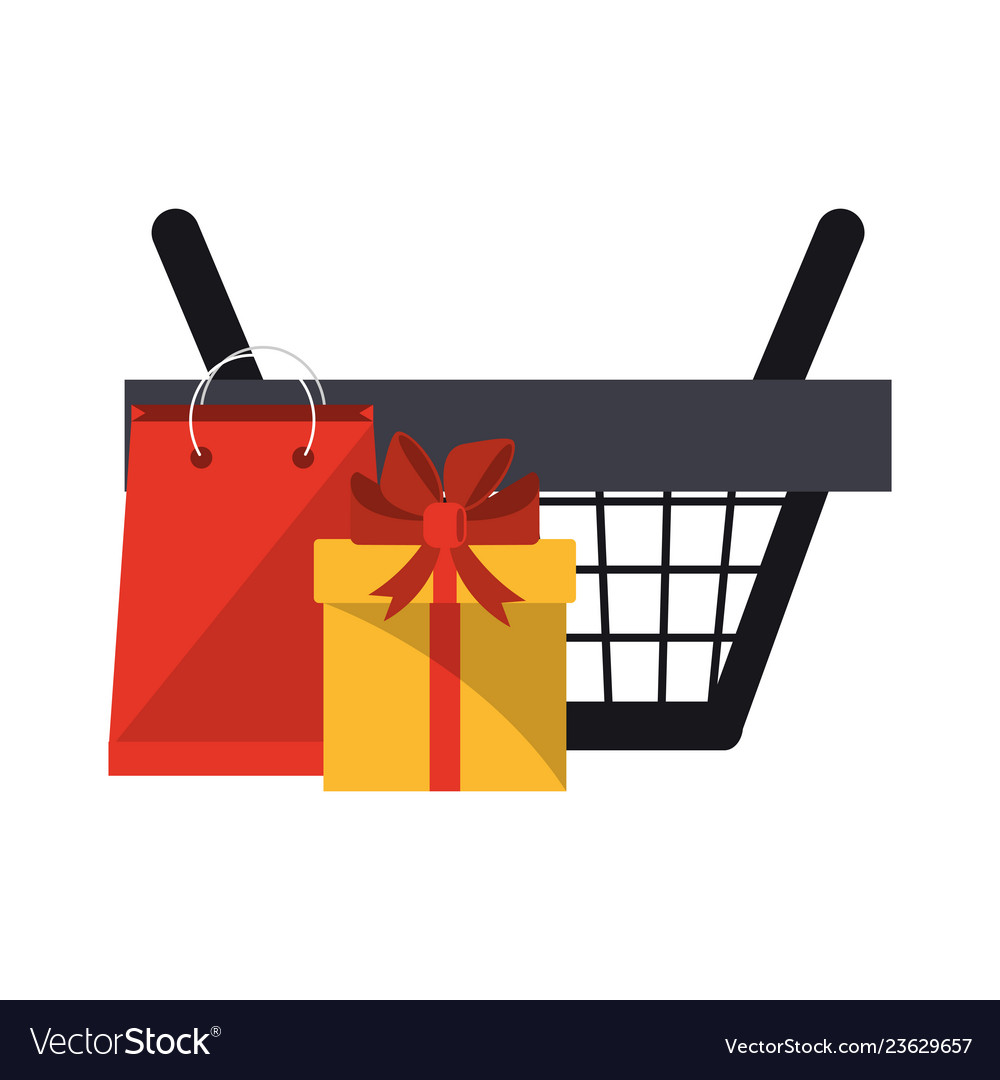 Shopping basket with gift box and bag