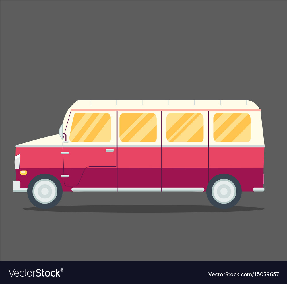 Travel van flat square icon with long shadows