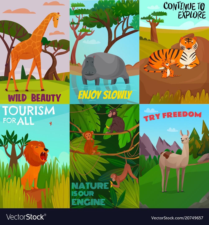 Wild animals cards set