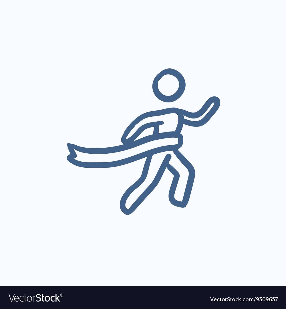 Winner crossing finish sketch icon vector image