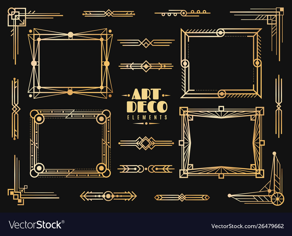Art deco elements gold wedding deco frame border
