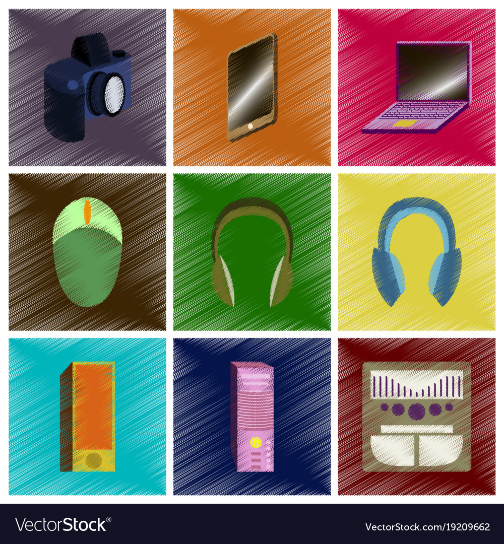 Assembly flat shading style icons gadgets