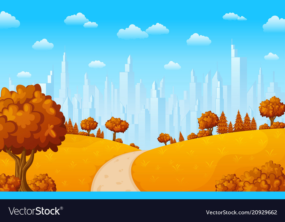 Autumn hillside landscape with city buildings