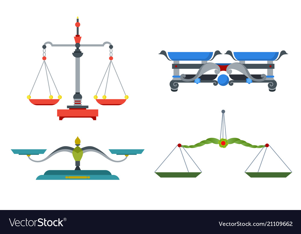 Balance scales with weight and equal pans device