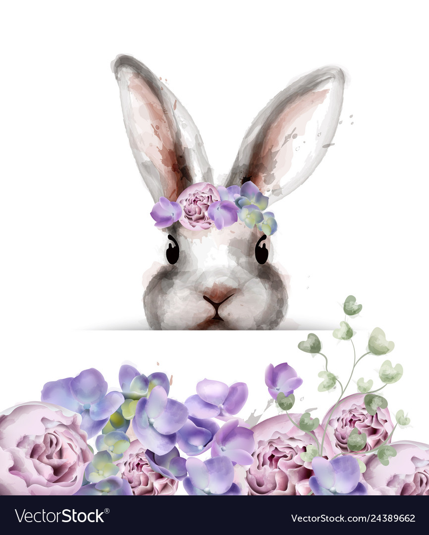 Bunny rabbit with flowers watercolor cute