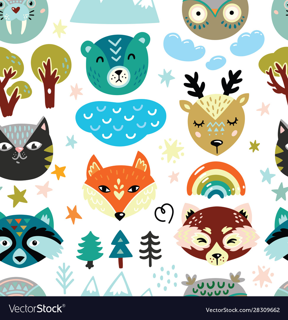 Cartoon animals heads and nature elements seamless