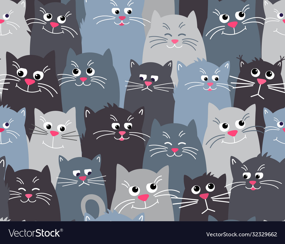 Cute cats grey seamless pattern background flat