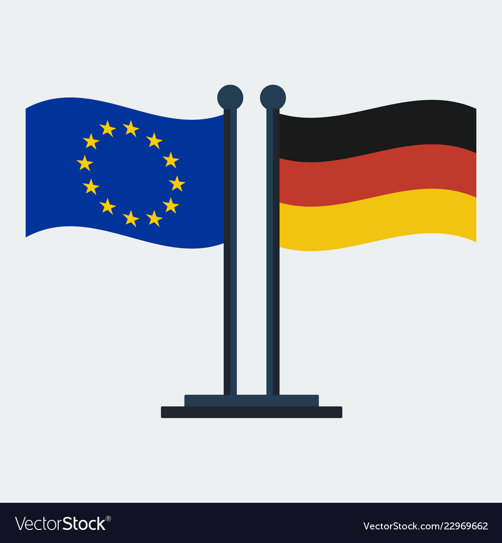 Flag of germany and european unionflag stand