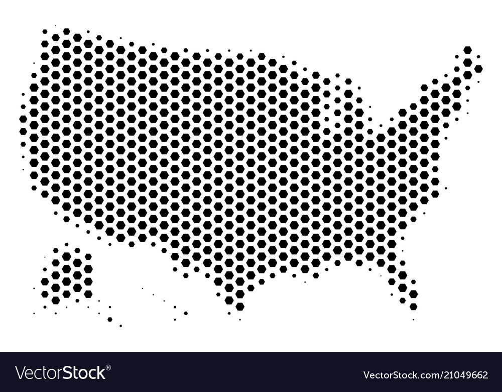 Hex tile usa with alaska map Royalty Free Vector Image