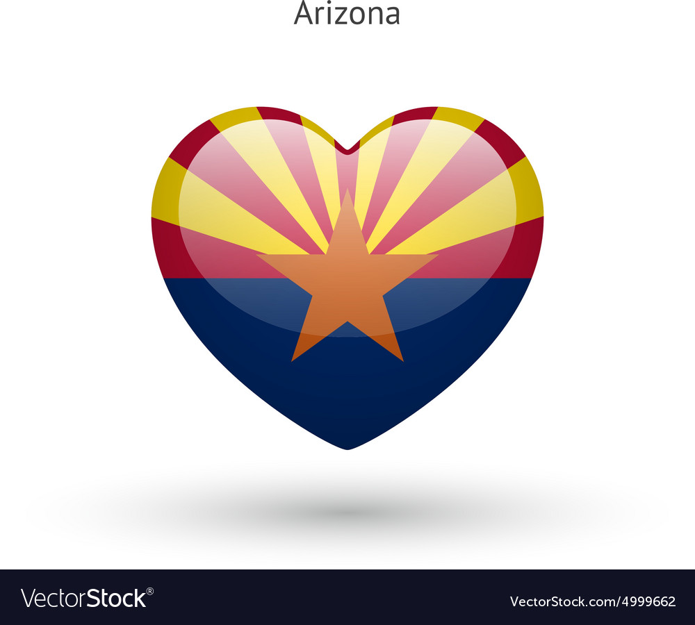 Love Arizona State Symbol Heart Flag Icon Vector Image