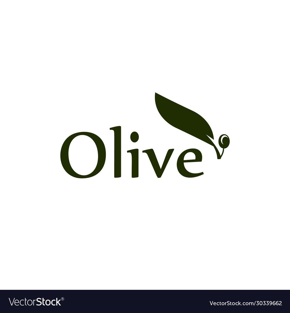 Olive tree leaf branch and fruit logo