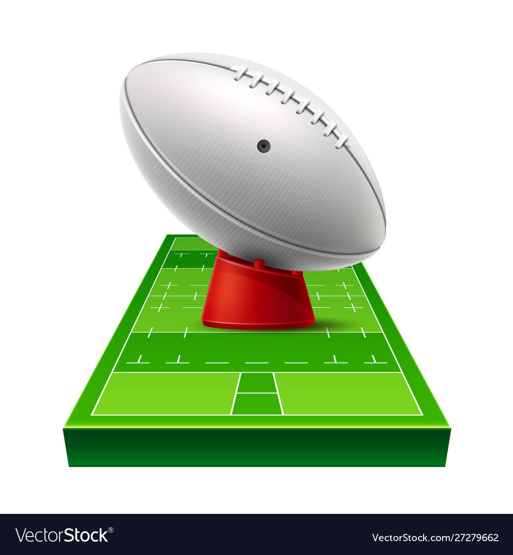Realistic rugby ground 3d leather ball