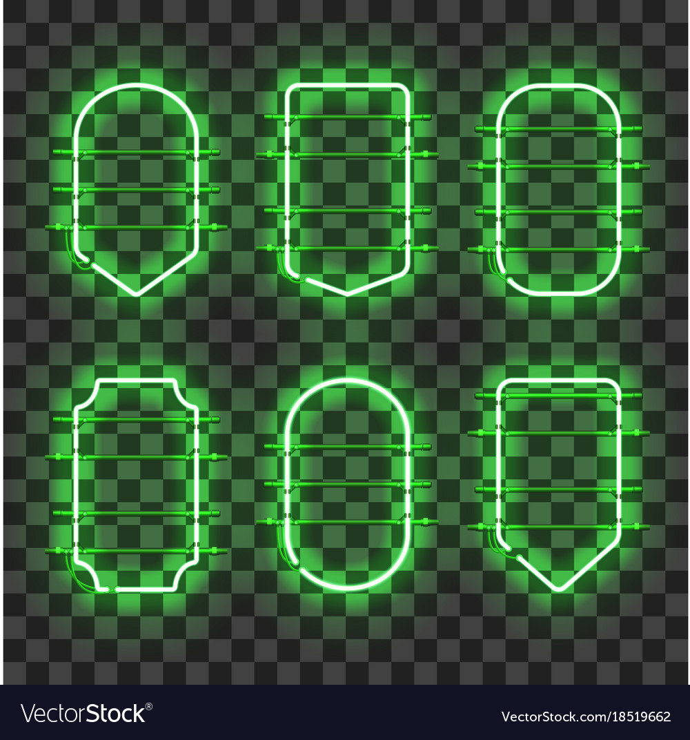 Set of realistic glowing green neon frames
