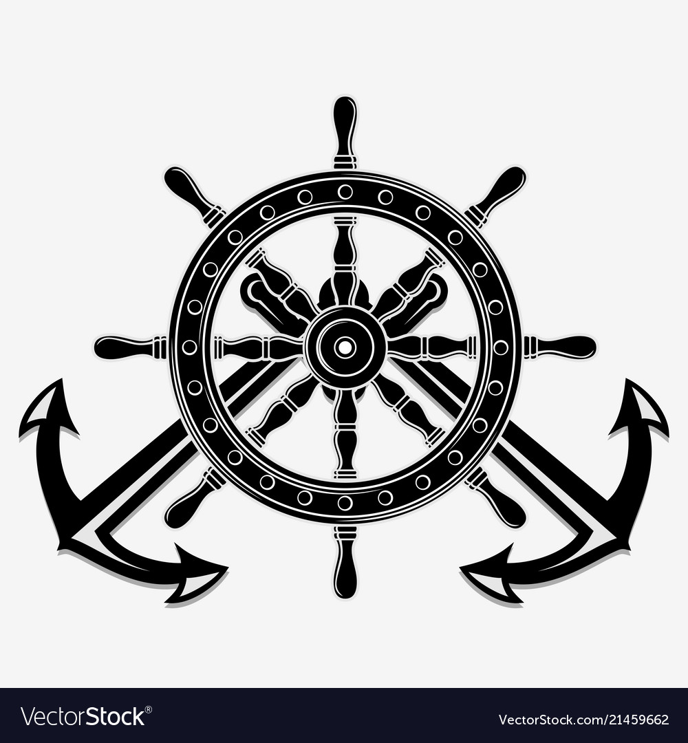 Ship Steering Wheel And Crossed Nautical Anchors Vector Image