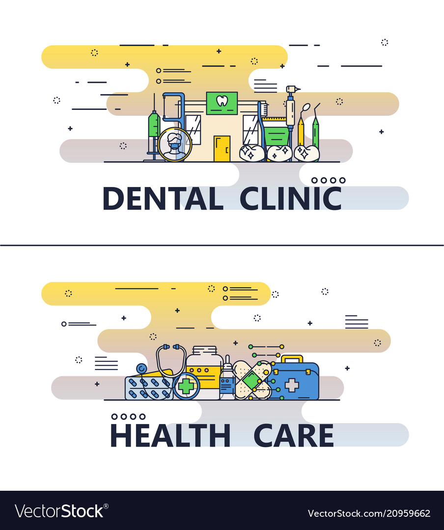 Thin line medical poster banner templates