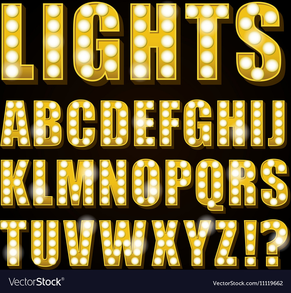 Yellow neon lamp letters font show casino vector image