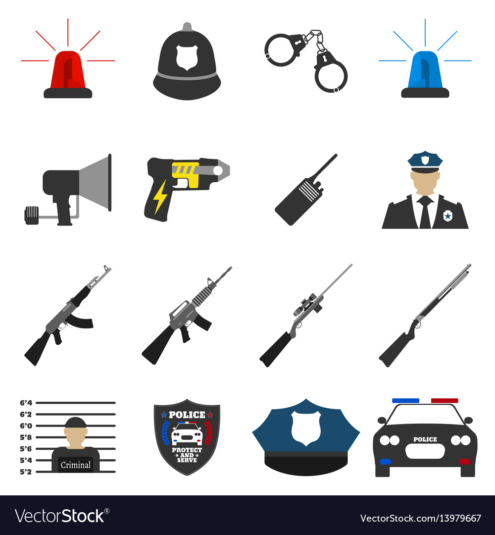 16 flat police icon protect and serve label