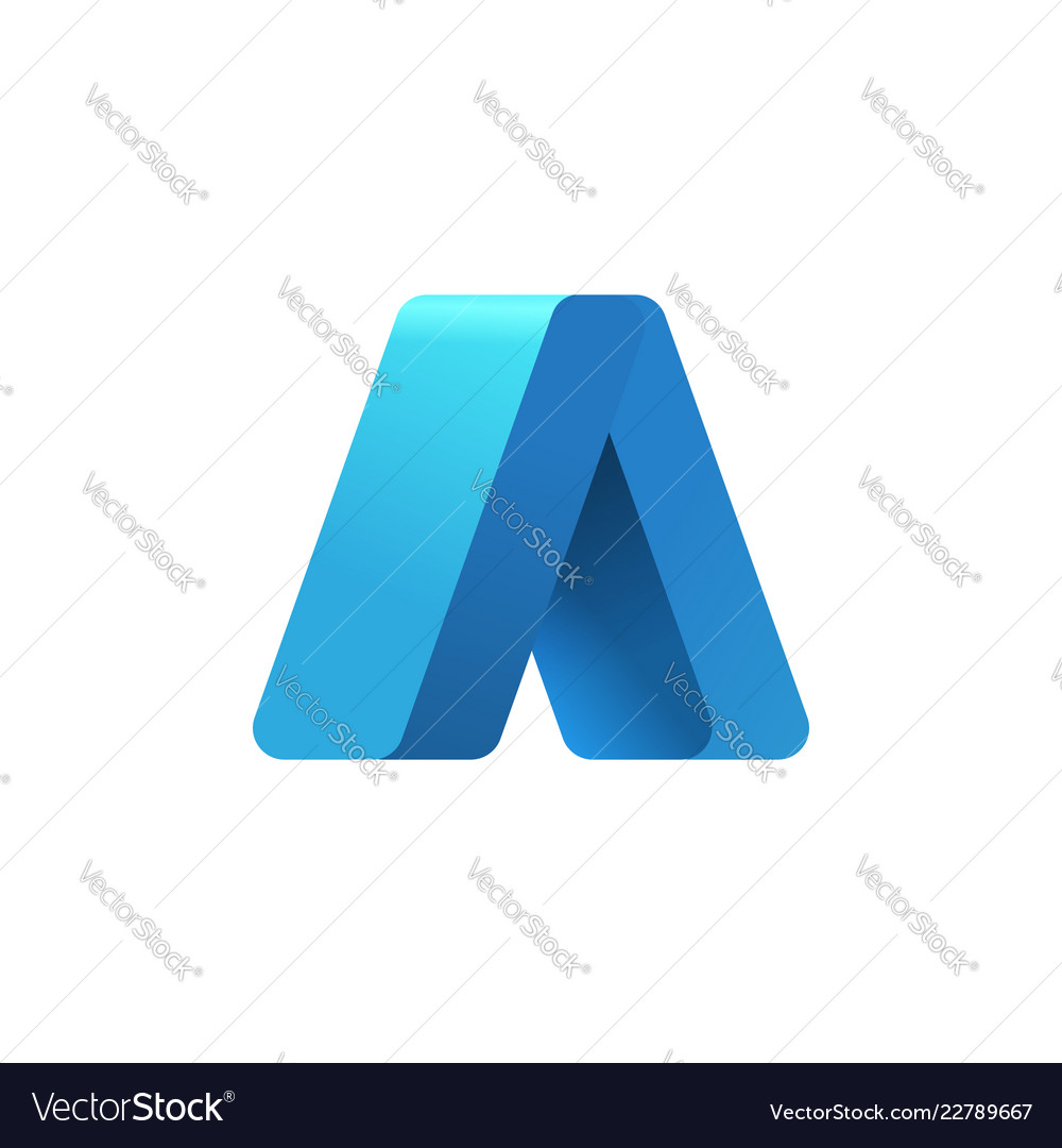 Abstract arrow up logo template 3d blue