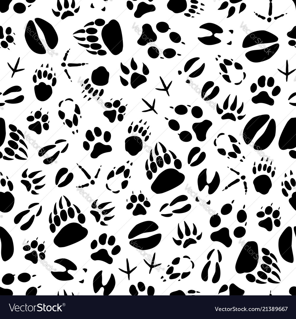 Animal or bird footprints seamless pattern