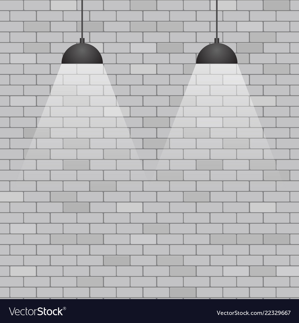 Ceiling Lights On Grey Brick Wall Background Vector Image