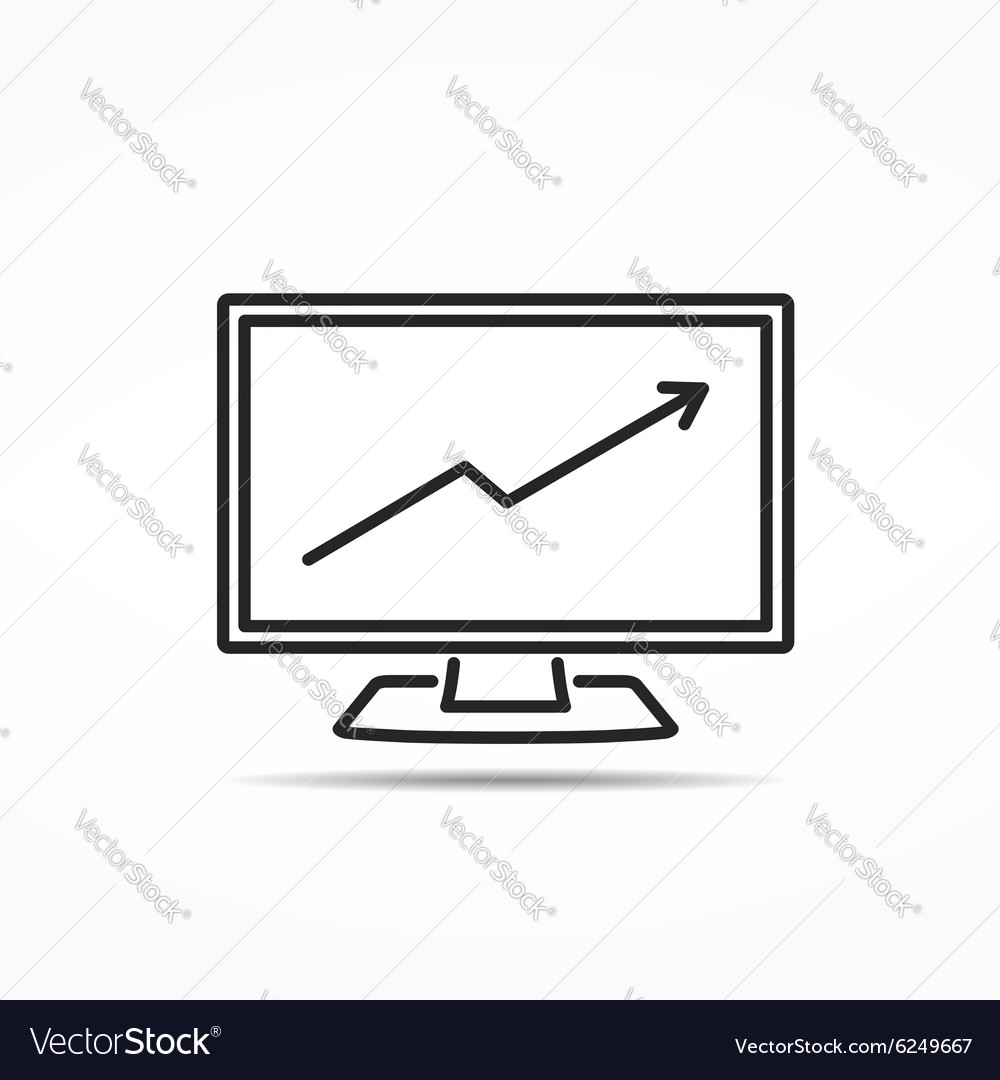 Computer with Graph Line Icon vector image