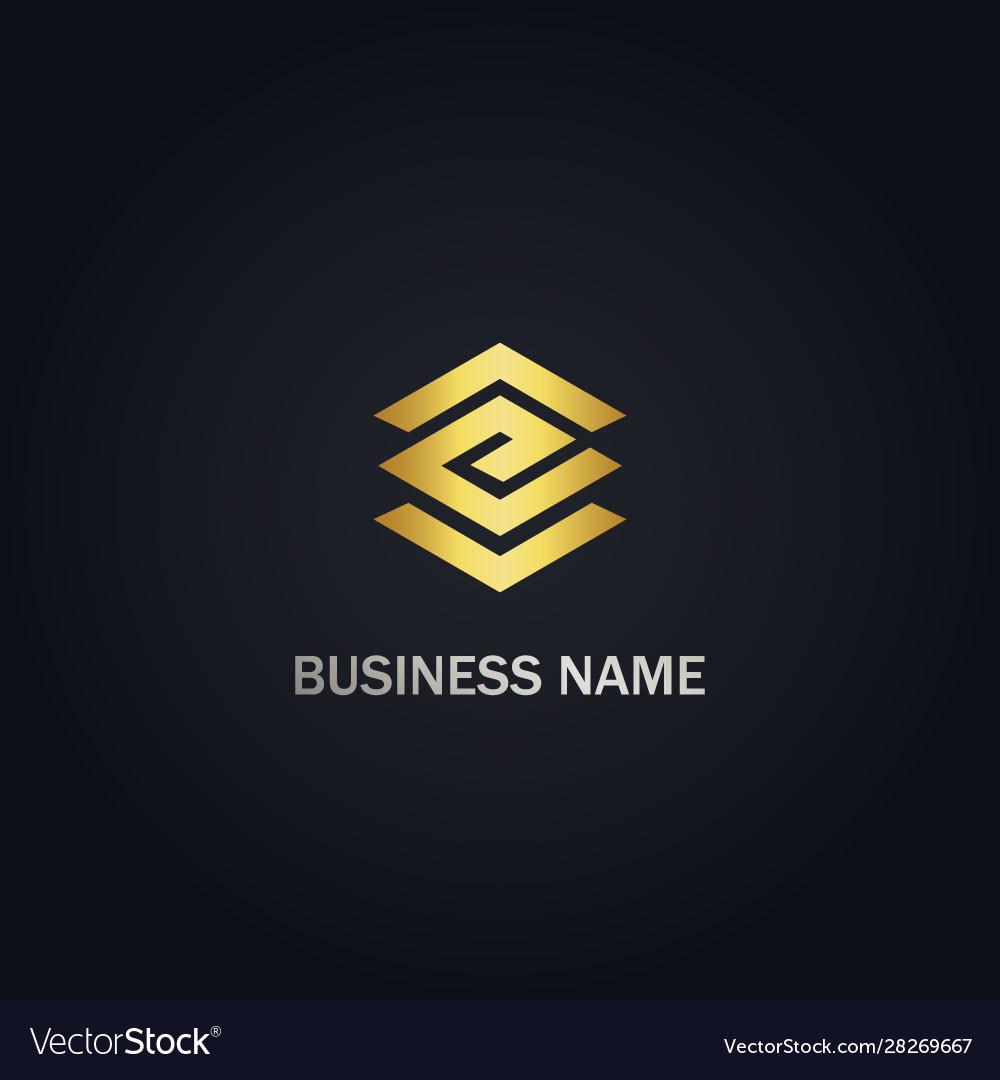 E shape line initial company logo